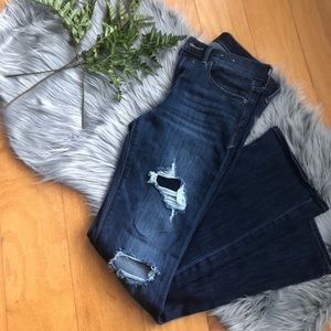 Express distressed flare jeans